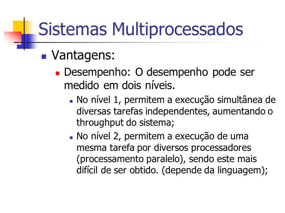 Sistemas Multiprocessados Vantagens: Desempenho: O desempenho pode ser medido em dois níveis. No nível 1, permitem a execução simultânea de diversas t