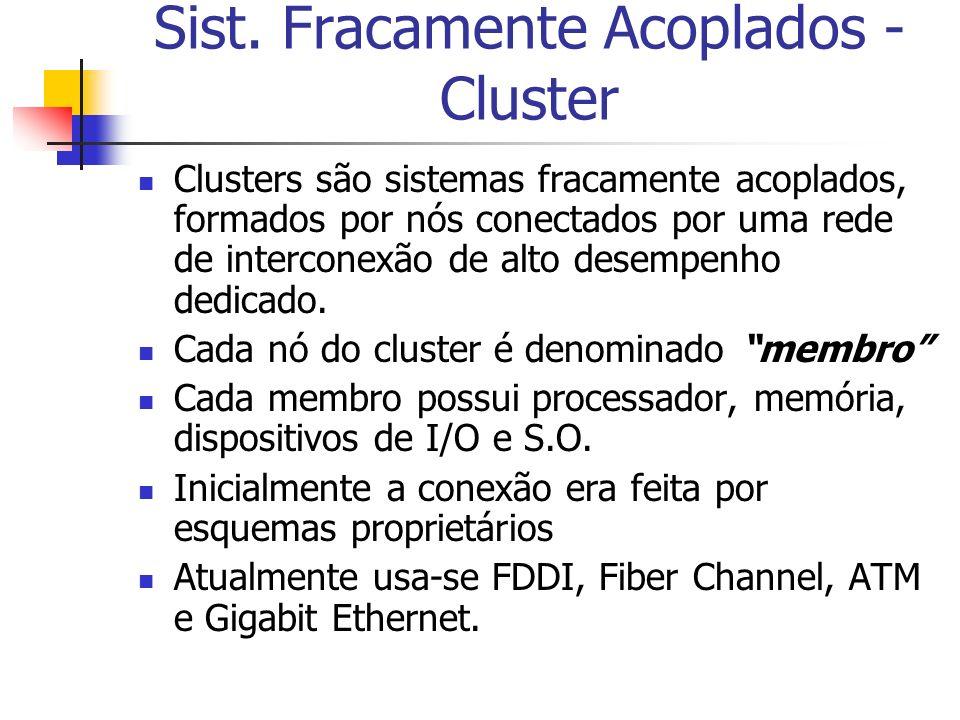 Sist. Fracamente Acoplados - Cluster Clusters são sistemas fracamente acoplados, formados por nós conectados por uma rede de interconexão de alto dese