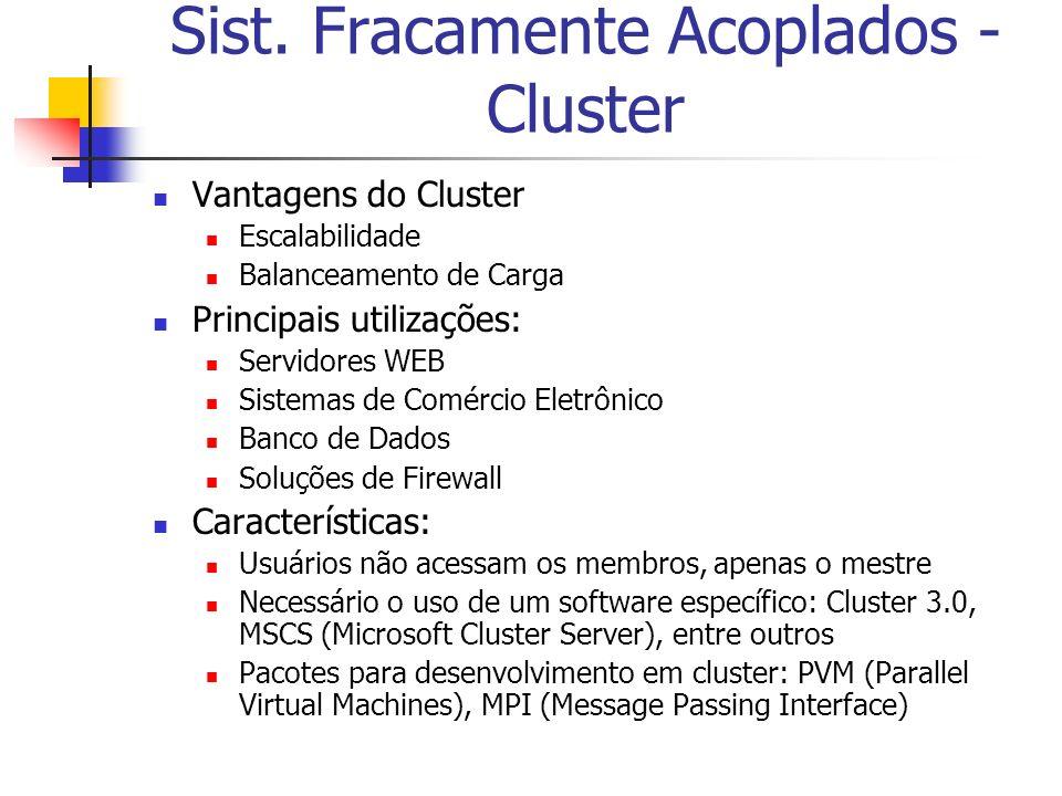 Sist. Fracamente Acoplados - Cluster Vantagens do Cluster Escalabilidade Balanceamento de Carga Principais utilizações: Servidores WEB Sistemas de Com