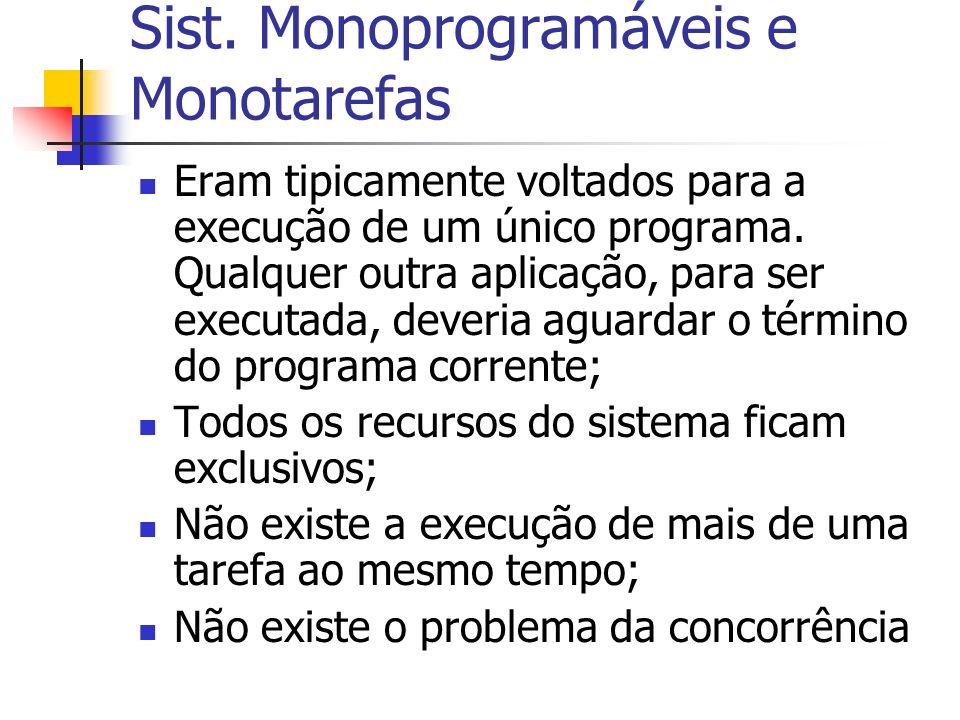 Sist. Monoprogramáveis e Monotarefas Eram tipicamente voltados para a execução de um único programa. Qualquer outra aplicação, para ser executada, dev