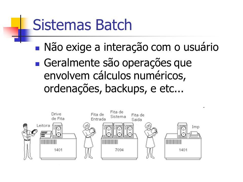 Sistemas Batch Não exige a interação com o usuário Geralmente são operações que envolvem cálculos numéricos, ordenações, backups, e etc...