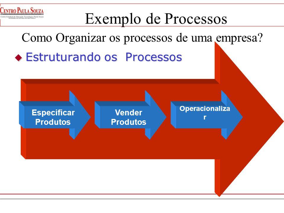 Exemplo de Processos Especificar Produto Prospecção/ Fidelização Operacionaliza r Vender Produtos Como organizar os Processos da Empresa??? Administra
