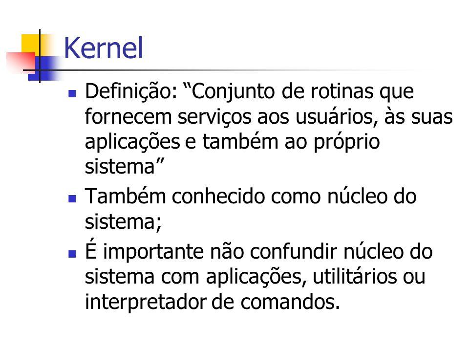 Kernel Principais funções: Tratamento de interrrupções e exceções Criação e eliminação de processos e threads Sincronização e comunicação entre processos e threads Escalonamento e controle dos processos e threads Gerência de memória Gerência do sistema de arquivos Gerência de dispositivos de E/S Suporte a redes locais e distribuídas Contabilização do uso do sistema Auditoria e segurança do sistema