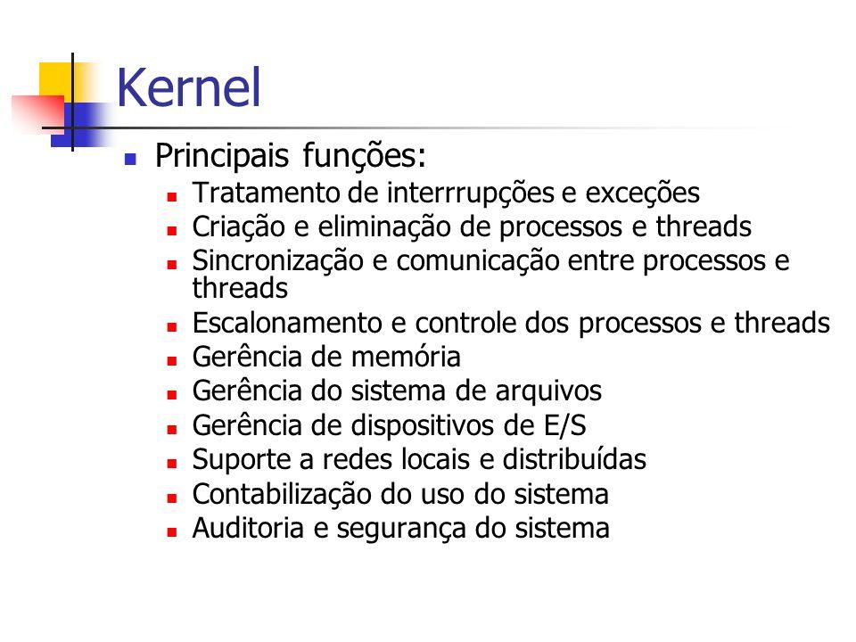Kernel Principais funções: Tratamento de interrrupções e exceções Criação e eliminação de processos e threads Sincronização e comunicação entre proces