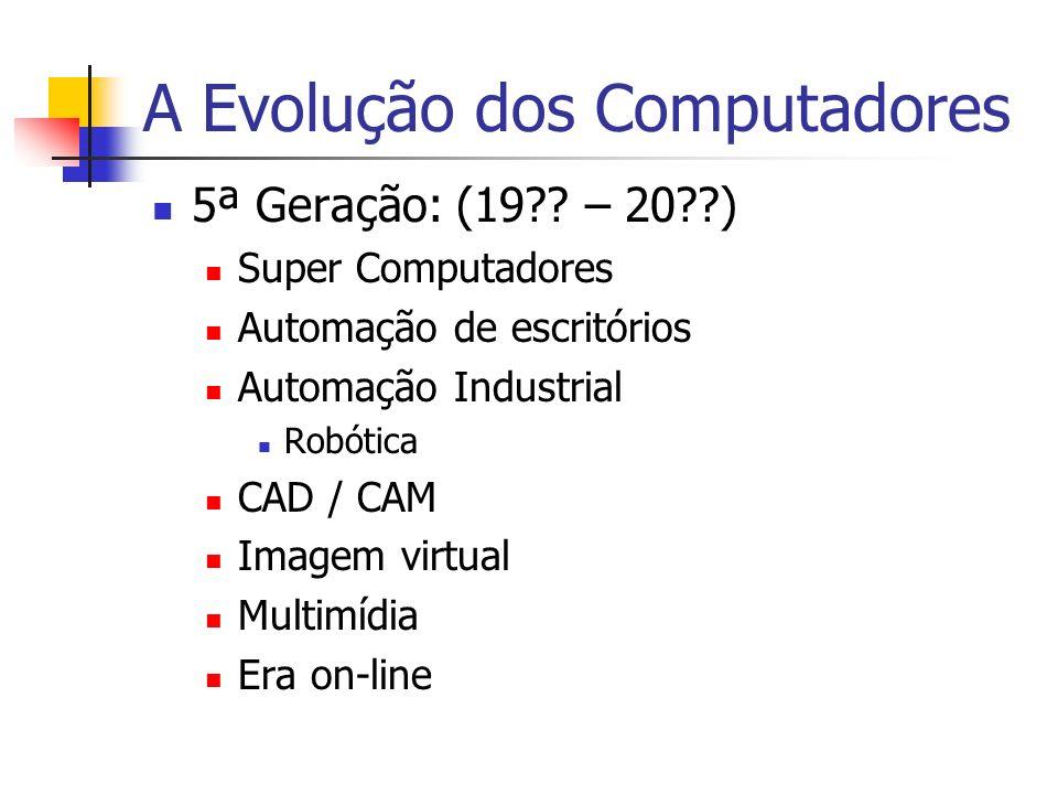 A Evolução dos Computadores 5ª Geração: (19?? – 20??) Super Computadores Automação de escritórios Automação Industrial Robótica CAD / CAM Imagem virtu