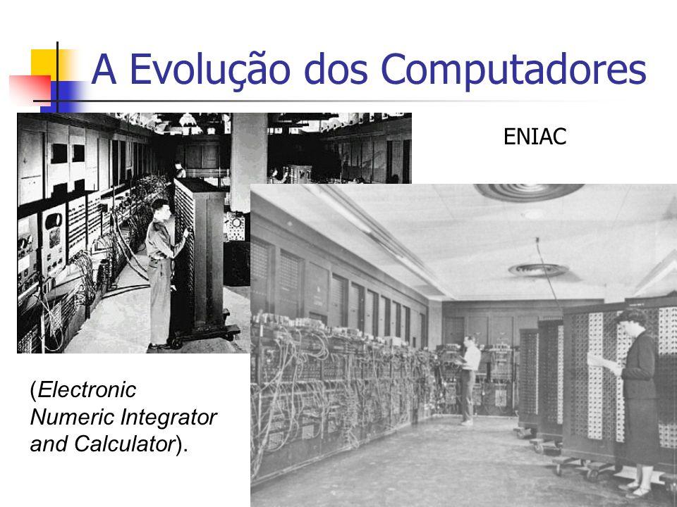 A Evolução dos Computadores 2ª Geração: (1959 - 1965) Início do uso comercial Tamanho gigantesco Capacidade de processamento pequena Uso de transistores em substituição as válvulas Aumento do desempenho Redução do espaço físico Aumento da confiabilidade (válvulas queimam)