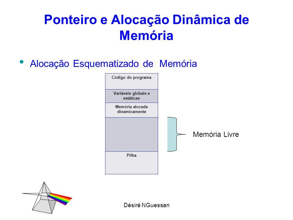 Désiré NGuessan Ponteiro e Alocação Dinâmica de Memória Alocação Esquematizado de Memória Código do programa Variáveis globais e estáticas Memória alo