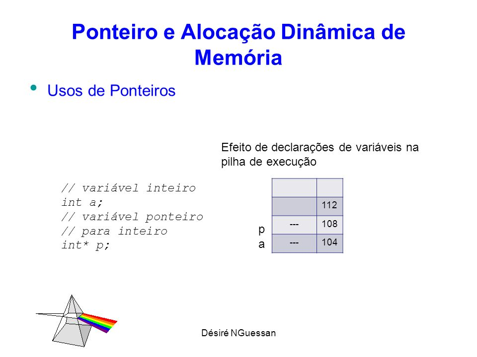 Désiré NGuessan Ponteiro e Alocação Dinâmica de Memória Usos de Ponteiros 112 ---108 5104 // a recebe o valor 5 a = 5; 112 104108 5104 112 104108 6104 /* p recebe o endereço de a diz-se p aponta para a */ p = &a; /* conteúdo de p recebe o valor 6 */ *p = 6; a p a p a p