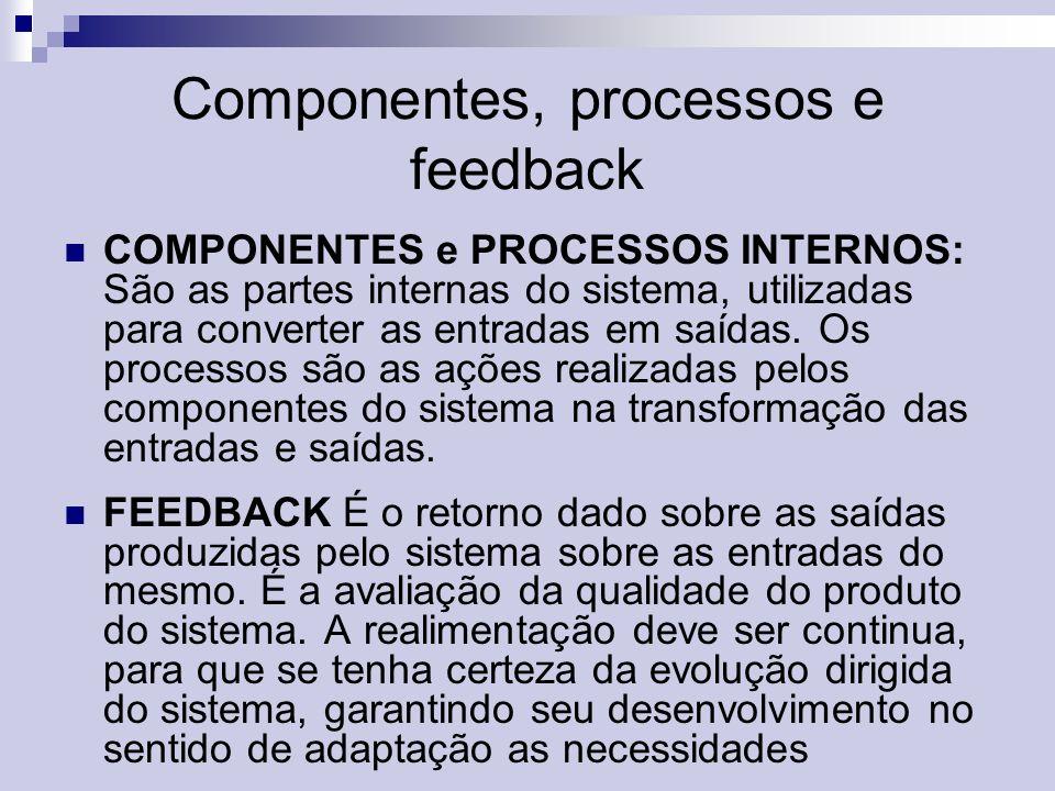 Componentes, processos e feedback COMPONENTES e PROCESSOS INTERNOS: São as partes internas do sistema, utilizadas para converter as entradas em saídas.