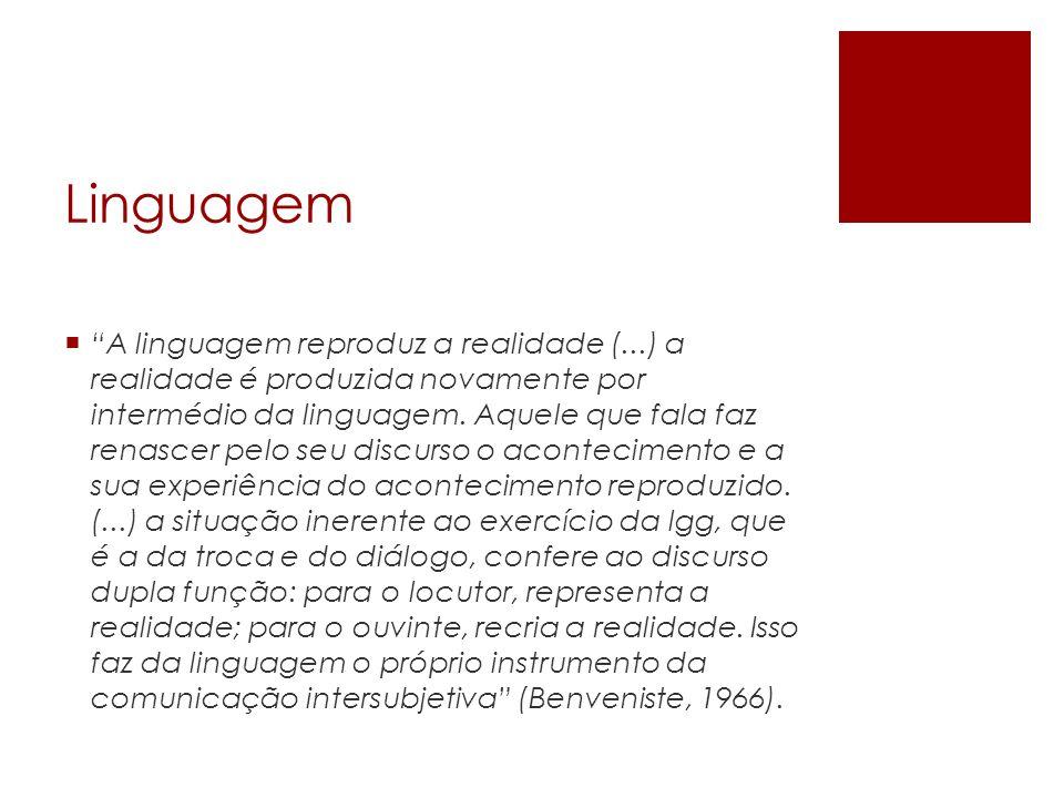 Linguagem A linguagem reproduz a realidade (...) a realidade é produzida novamente por intermédio da linguagem. Aquele que fala faz renascer pelo seu