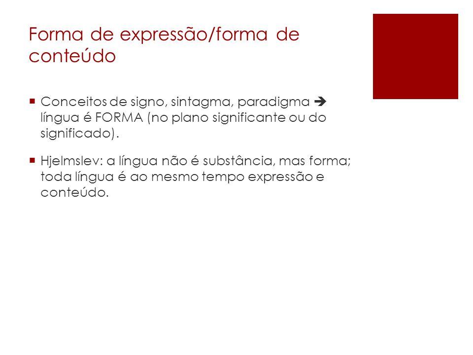 Forma de expressão/forma de conteúdo Conceitos de signo, sintagma, paradigma língua é FORMA (no plano significante ou do significado). Hjelmslev: a lí