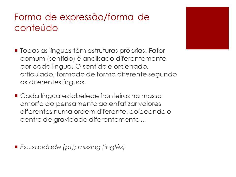 Forma de expressão/forma de conteúdo Todas as línguas têm estruturas próprias. Fator comum (sentido) é analisado diferentemente por cada língua. O sen
