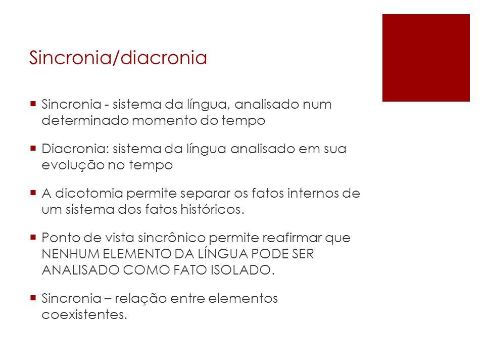 Sincronia/diacronia Sincronia - sistema da língua, analisado num determinado momento do tempo Diacronia: sistema da língua analisado em sua evolução n