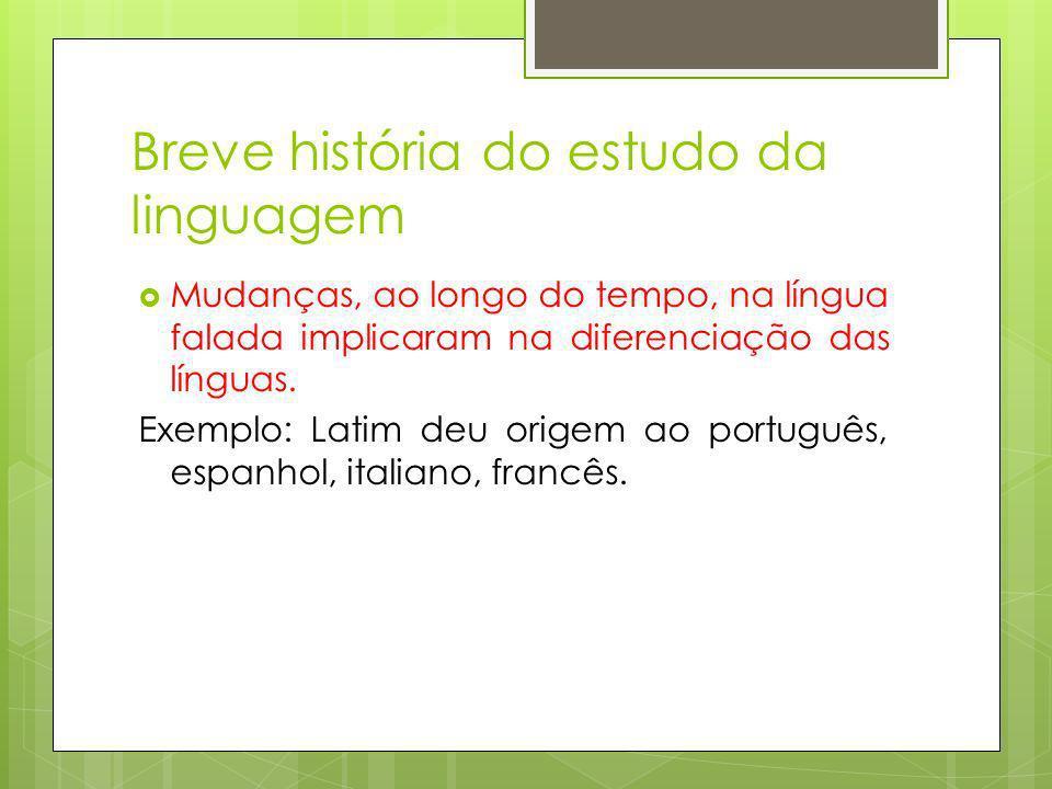Breve história do estudo da linguagem Mudanças, ao longo do tempo, na língua falada implicaram na diferenciação das línguas. Exemplo: Latim deu origem