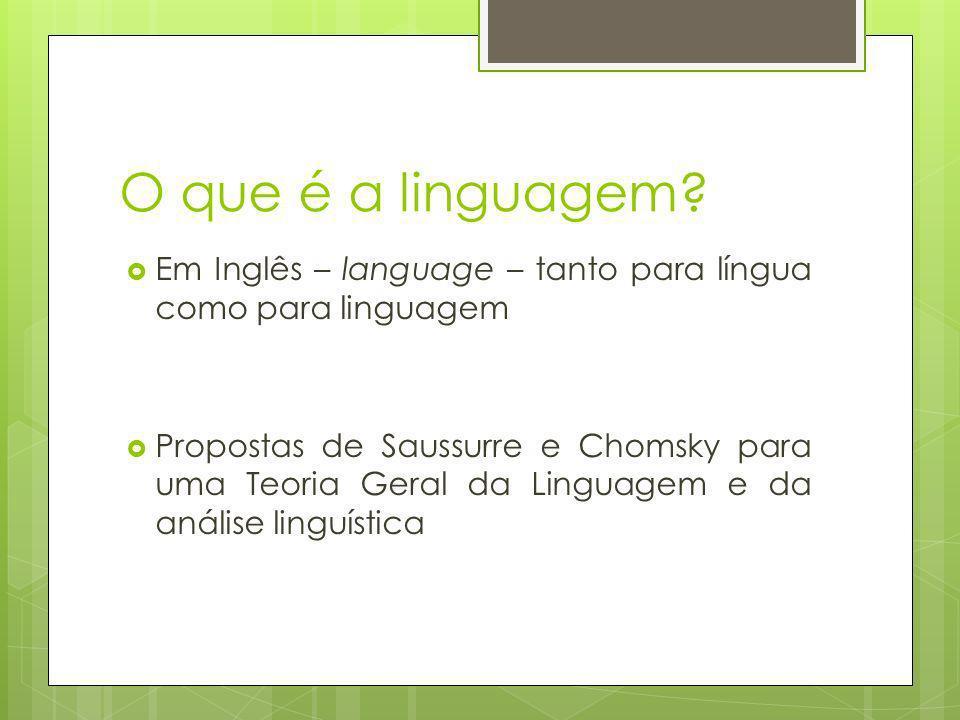 O que é a linguagem? Em Inglês – language – tanto para língua como para linguagem Propostas de Saussurre e Chomsky para uma Teoria Geral da Linguagem