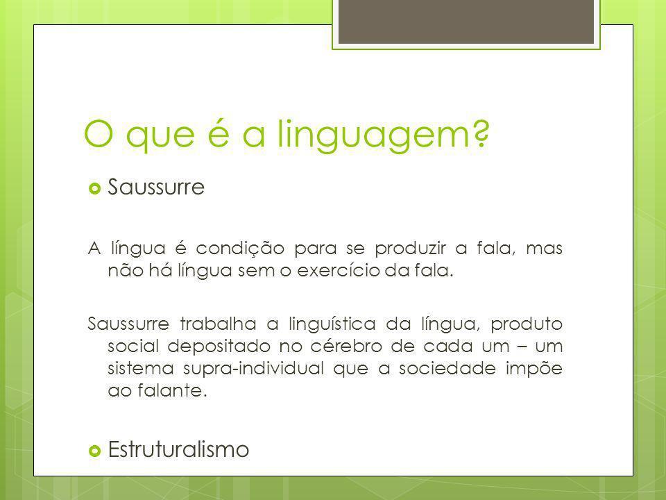 O que é a linguagem? Saussurre A língua é condição para se produzir a fala, mas não há língua sem o exercício da fala. Saussurre trabalha a linguístic