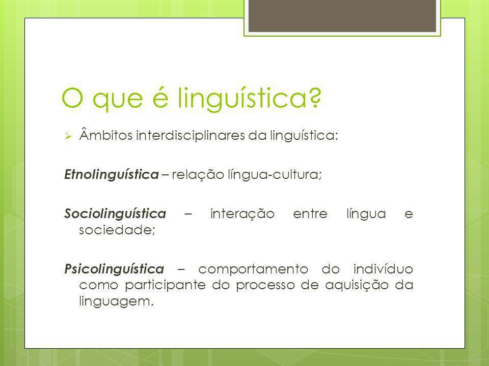 O que é linguística? Âmbitos interdisciplinares da linguística: Etnolinguística – relação língua-cultura; Sociolinguística – interação entre língua e