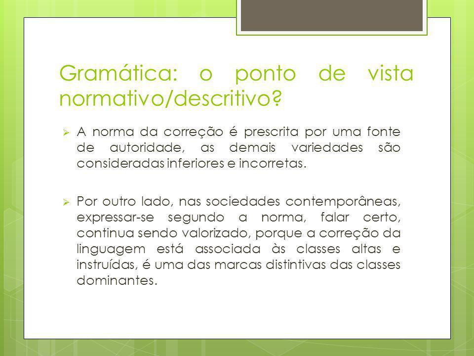 Gramática: o ponto de vista normativo/descritivo.