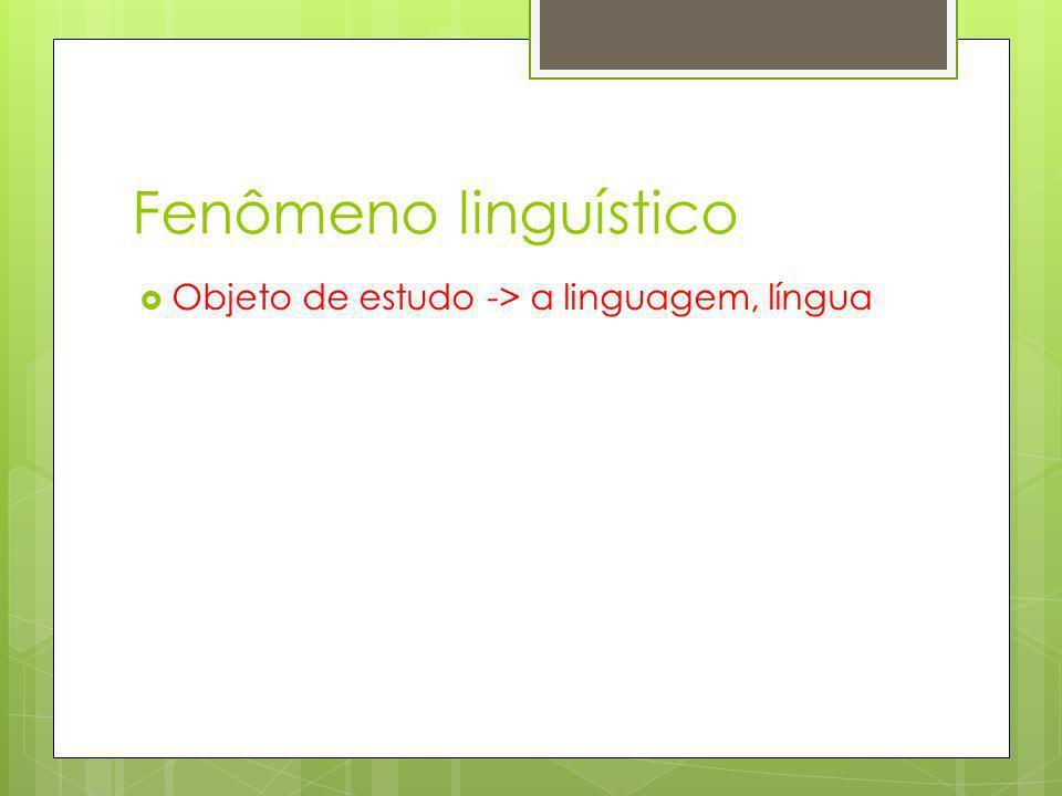 Fenômeno linguístico Objeto de estudo -> a linguagem, língua
