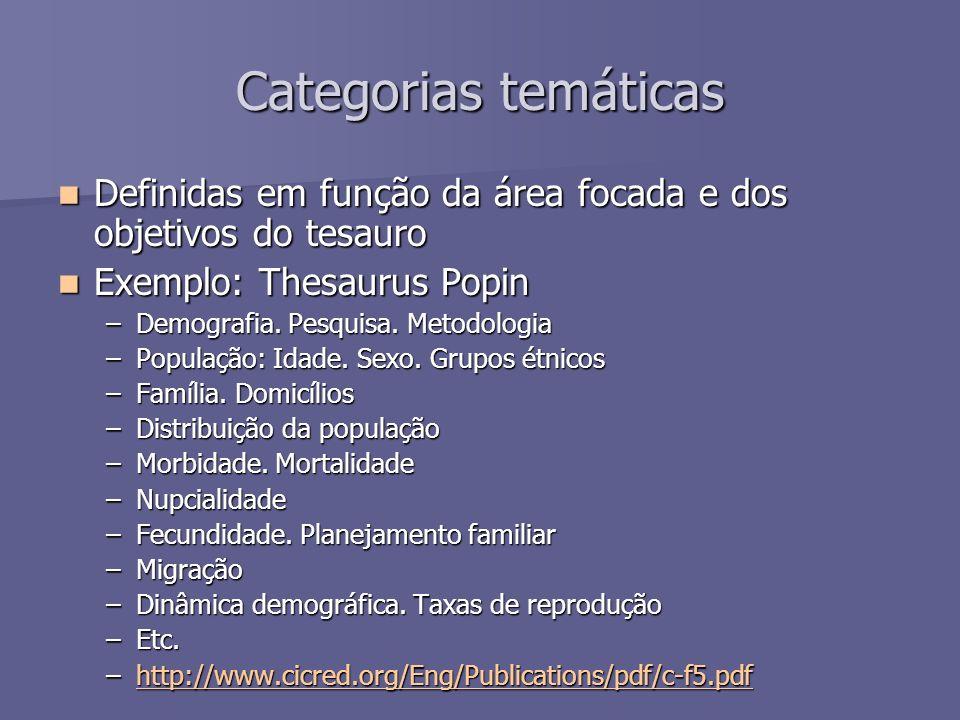 Categorias temáticas Definidas em função da área focada e dos objetivos do tesauro Definidas em função da área focada e dos objetivos do tesauro Exemp