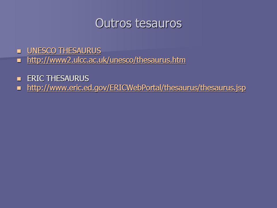 Outros tesauros UNESCO THESAURUS UNESCO THESAURUS UNESCO THESAURUS UNESCO THESAURUS http://www2.ulcc.ac.uk/unesco/thesaurus.htm http://www2.ulcc.ac.uk