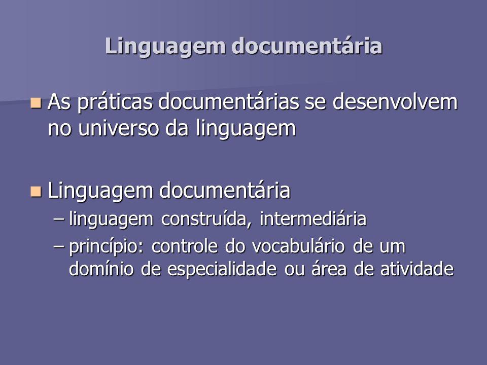 Linguagem documentária As práticas documentárias se desenvolvem no universo da linguagem As práticas documentárias se desenvolvem no universo da lingu