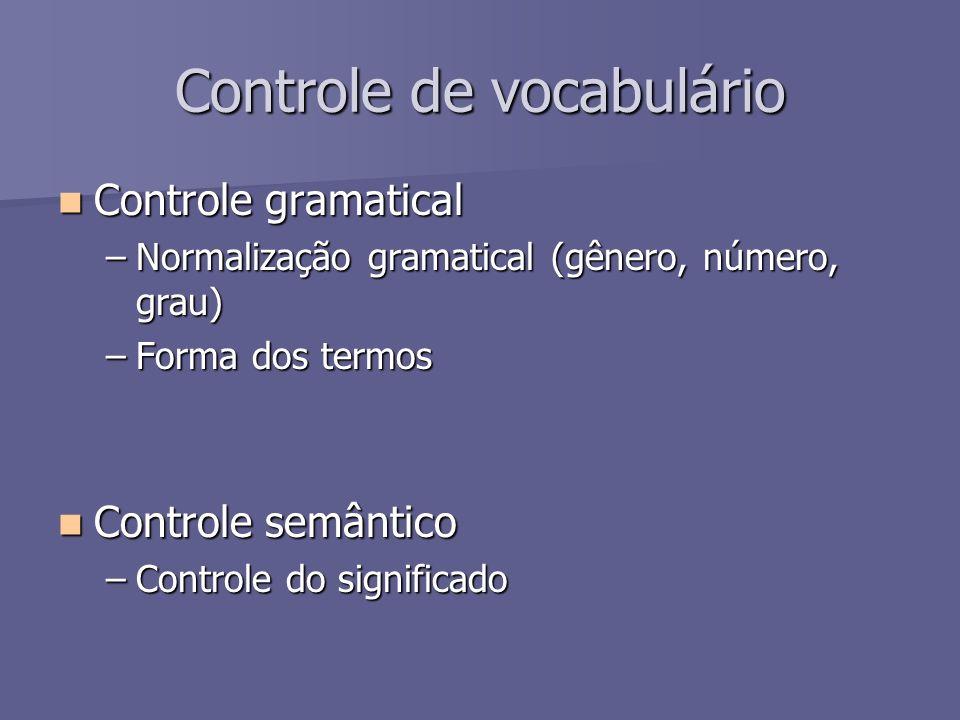 Controle de vocabulário Controle gramatical Controle gramatical –Normalização gramatical (gênero, número, grau) –Forma dos termos Controle semântico C