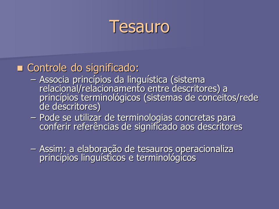 Tesauro Controle do significado: Controle do significado: –Associa princípios da linguística (sistema relacional/relacionamento entre descritores) a p
