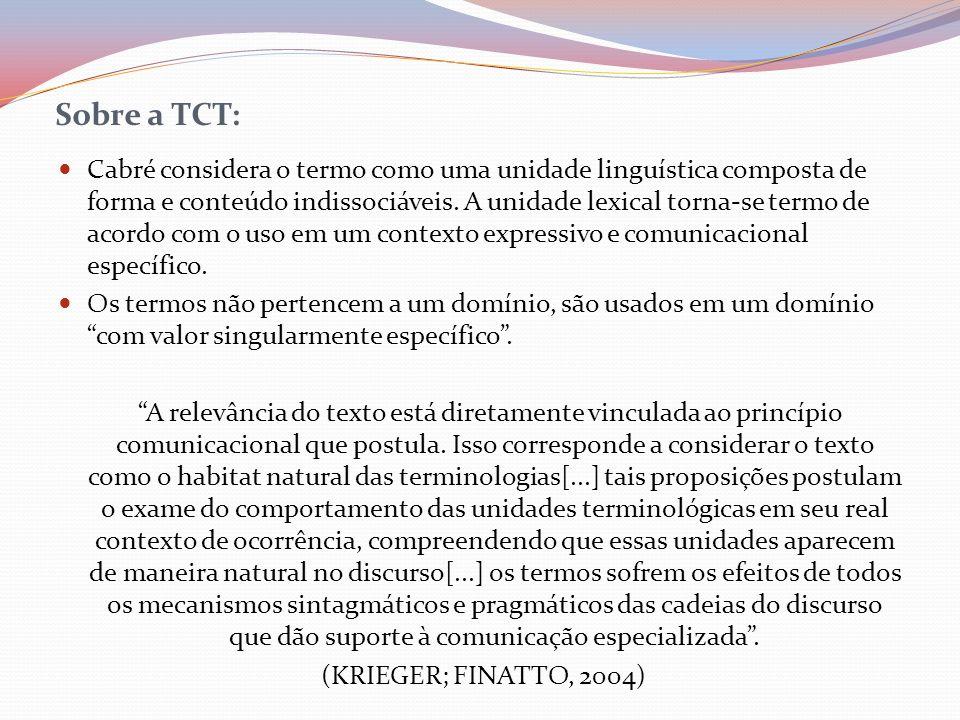 Sobre a TCT: Cabré considera o termo como uma unidade linguística composta de forma e conteúdo indissociáveis. A unidade lexical torna-se termo de aco