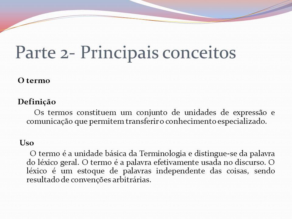Parte 2- Principais conceitos O termo Definição Os termos constituem um conjunto de unidades de expressão e comunicação que permitem transferir o conh