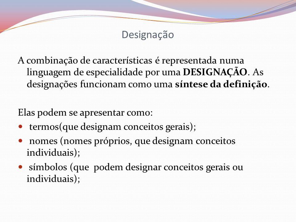 Designação A combinação de características é representada numa linguagem de especialidade por uma DESIGNAÇÃO. As designações funcionam como uma síntes