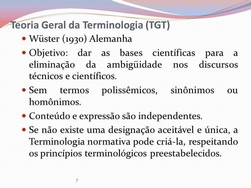 Teoria Geral da Terminologia (TGT) Wüster (1930) Alemanha Objetivo: dar as bases científicas para a eliminação da ambigüidade nos discursos técnicos e