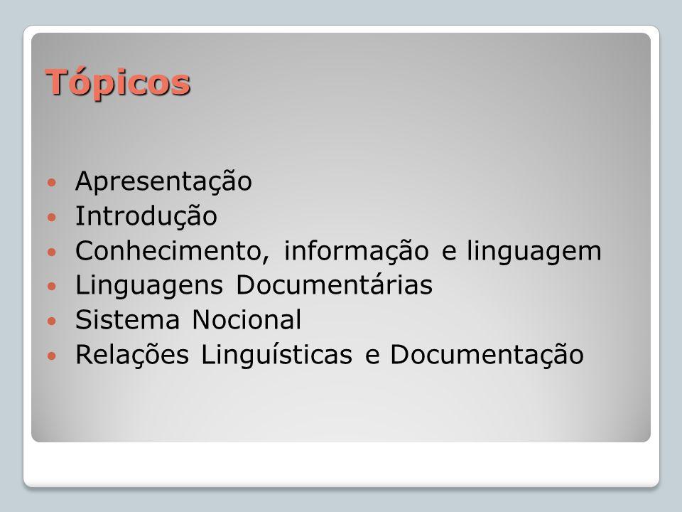 Tópicos Apresentação Introdução Conhecimento, informação e linguagem Linguagens Documentárias Sistema Nocional Relações Linguísticas e Documentação