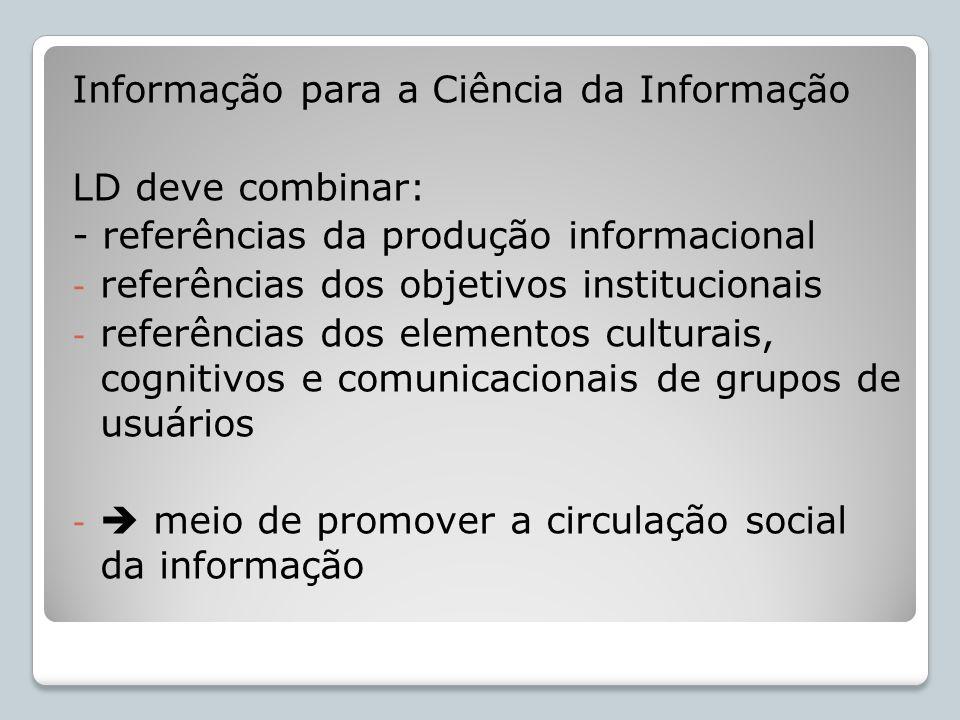 Informação para a Ciência da Informação LD deve combinar: - referências da produção informacional - referências dos objetivos institucionais - referên