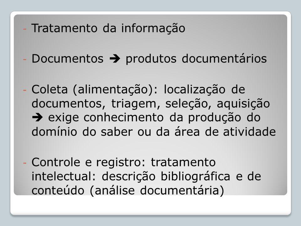 - Tratamento da informação - Documentos produtos documentários - Coleta (alimentação): localização de documentos, triagem, seleção, aquisição exige co
