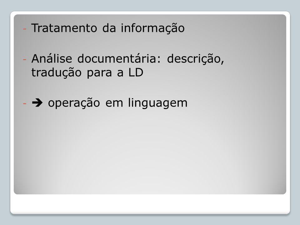 - Tratamento da informação - Análise documentária: descrição, tradução para a LD - operação em linguagem