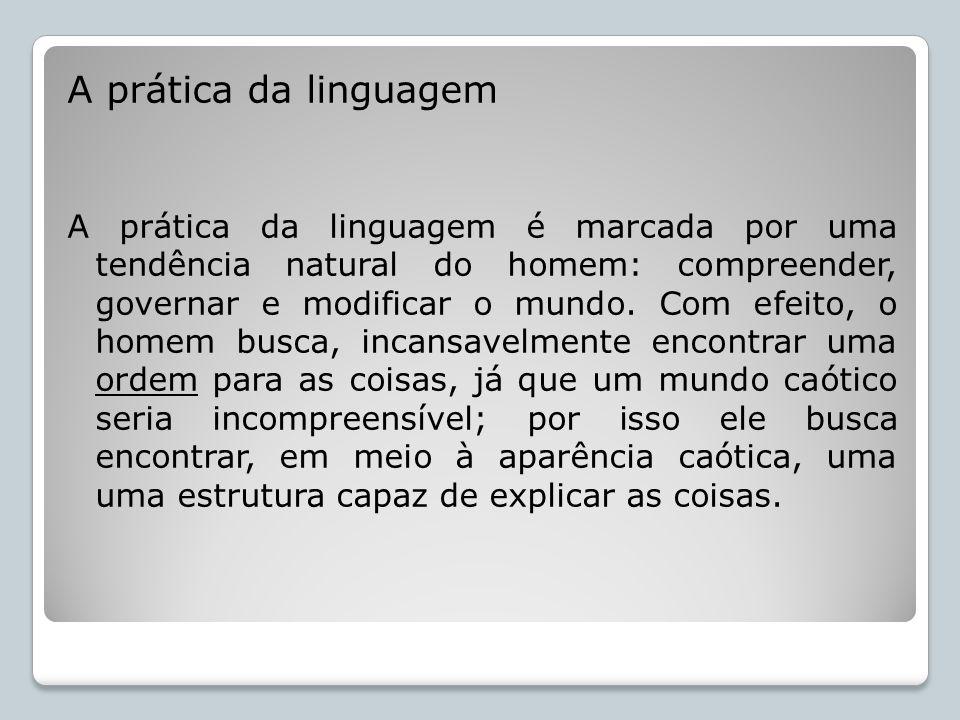 A prática da linguagem A prática da linguagem é marcada por uma tendência natural do homem: compreender, governar e modificar o mundo. Com efeito, o h
