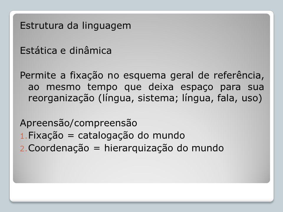 Estrutura da linguagem Estática e dinâmica Permite a fixação no esquema geral de referência, ao mesmo tempo que deixa espaço para sua reorganização (l