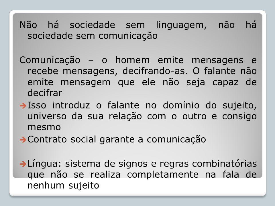 Não há sociedade sem linguagem, não há sociedade sem comunicação Comunicação – o homem emite mensagens e recebe mensagens, decifrando-as. O falante nã