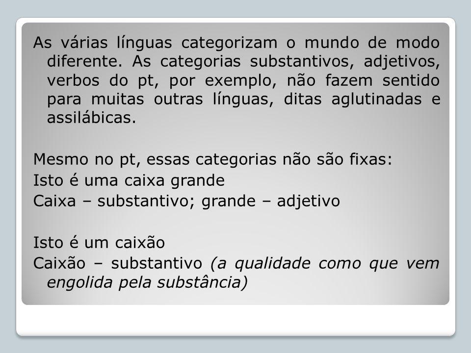 As várias línguas categorizam o mundo de modo diferente. As categorias substantivos, adjetivos, verbos do pt, por exemplo, não fazem sentido para muit