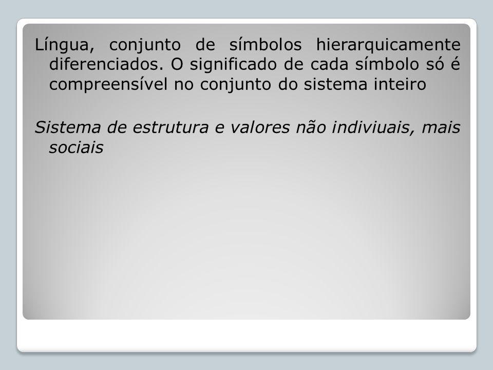 Língua, conjunto de símbolos hierarquicamente diferenciados. O significado de cada símbolo só é compreensível no conjunto do sistema inteiro Sistema d