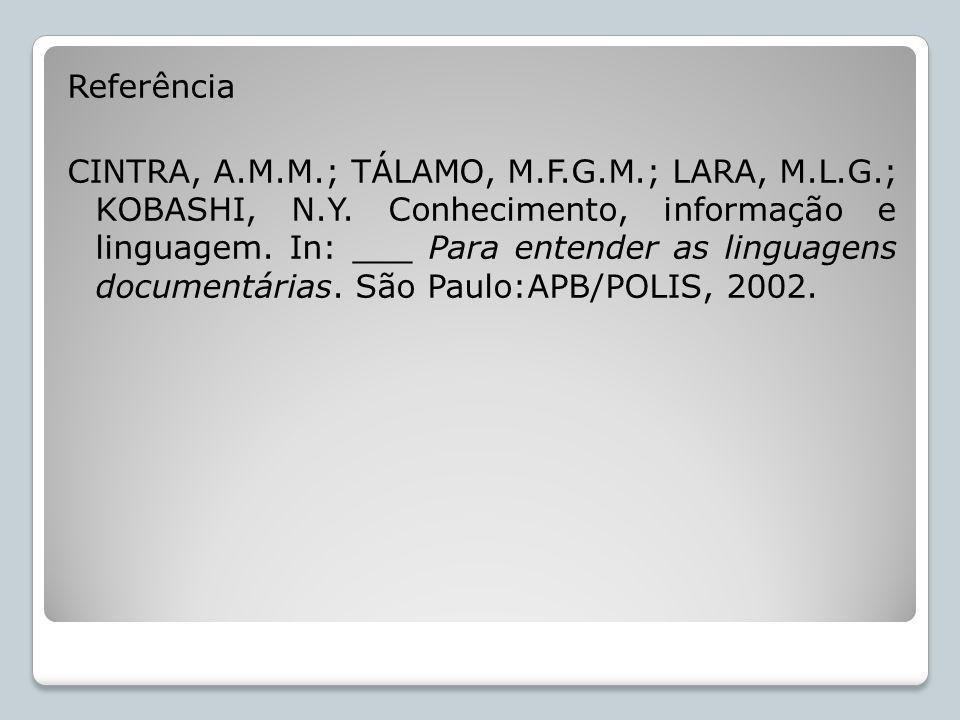 Referência CINTRA, A.M.M.; TÁLAMO, M.F.G.M.; LARA, M.L.G.; KOBASHI, N.Y. Conhecimento, informação e linguagem. In: ___ Para entender as linguagens doc