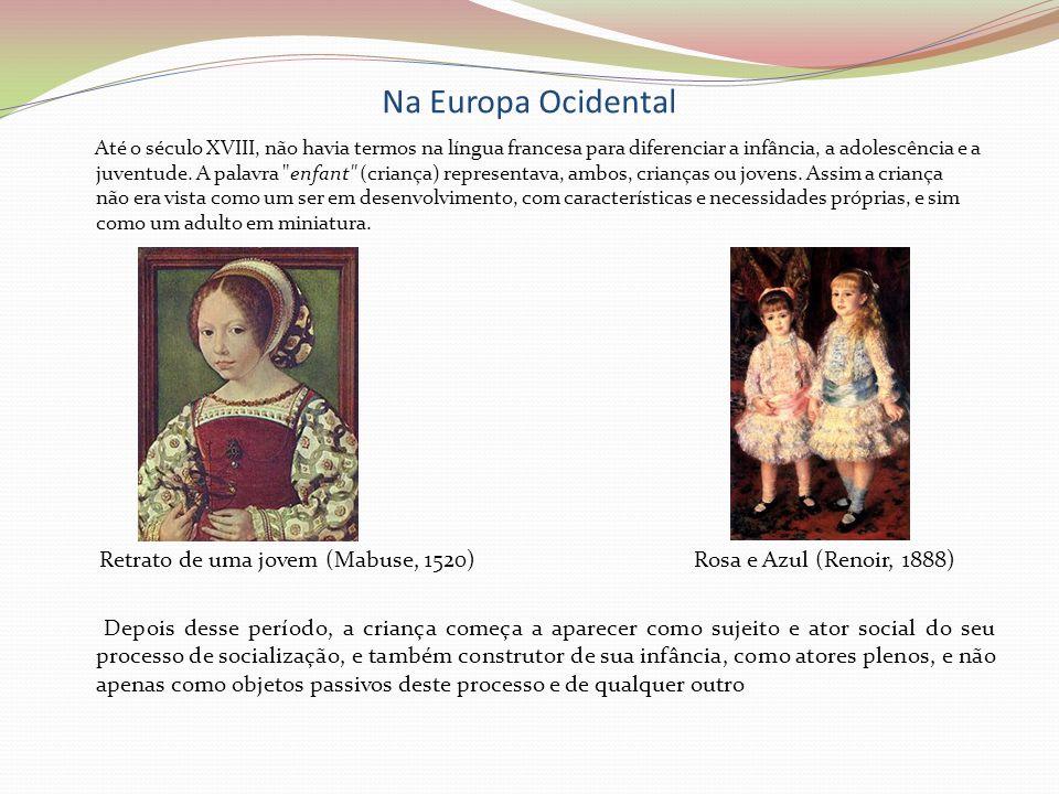 Na Europa Ocidental Até o século XVIII, não havia termos na língua francesa para diferenciar a infância, a adolescência e a juventude. A palavra