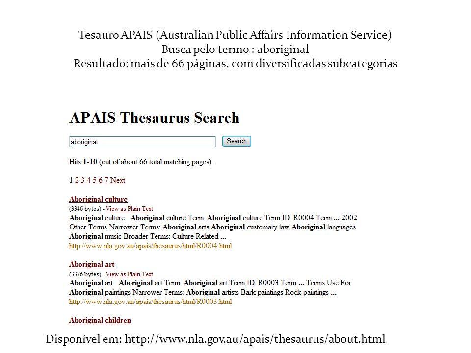Tesauro APAIS (Australian Public Affairs Information Service) Busca pelo termo : aboriginal Resultado: mais de 66 páginas, com diversificadas subcateg