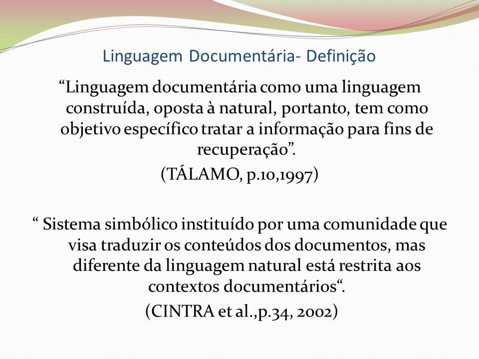 Linguagem Documentária- Definição Linguagem documentária como uma linguagem construída, oposta à natural, portanto, tem como objetivo específico trata