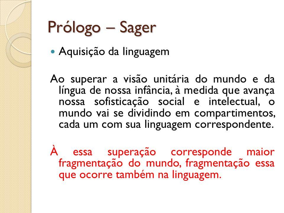 Prólogo – Sager Aquisição da linguagem Ao superar a visão unitária do mundo e da língua de nossa infância, à medida que avança nossa sofisticação soci