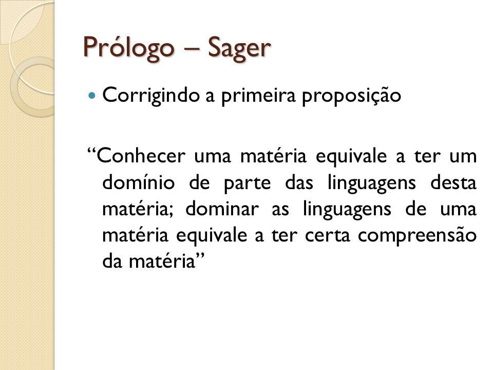 Prólogo – Sager Corrigindo a primeira proposição Conhecer uma matéria equivale a ter um domínio de parte das linguagens desta matéria; dominar as ling