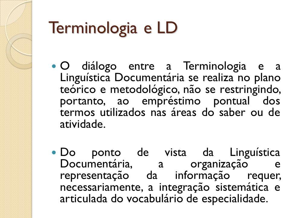 Terminologia e LD O diálogo entre a Terminologia e a Linguística Documentária se realiza no plano teórico e metodológico, não se restringindo, portant