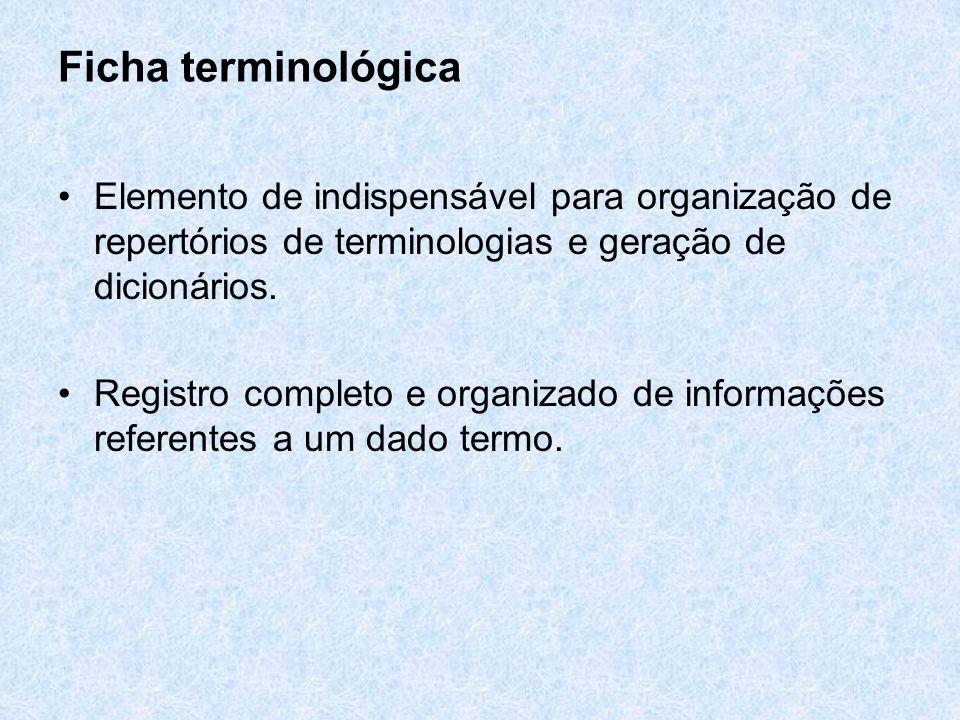 Ficha terminológica Elemento de indispensável para organização de repertórios de terminologias e geração de dicionários. Registro completo e organizad