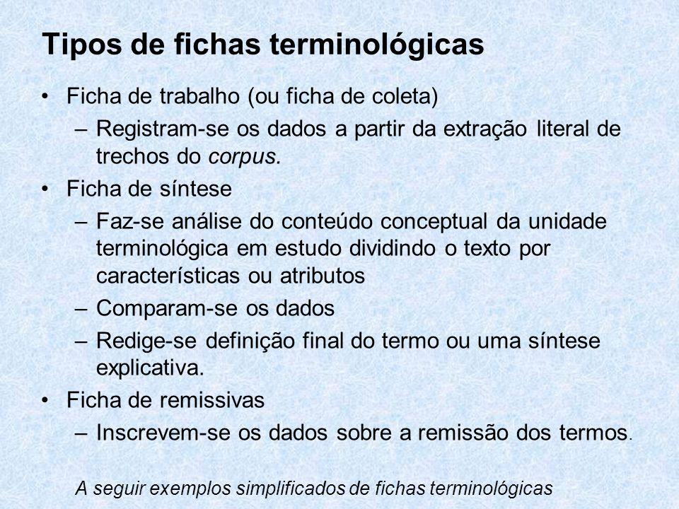 Tipos de fichas terminológicas Ficha de trabalho (ou ficha de coleta) –Registram-se os dados a partir da extração literal de trechos do corpus. Ficha